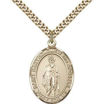 "Saint Bartholomew The Apostle Medal For Men - Gold Filled Necklace On 24"" Cha... 617759181753"
