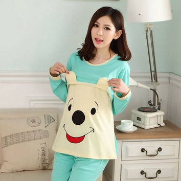 Pregnant woman pajamas cartoon maternity clothes maternity nursing pajamas apparel = 1945919876