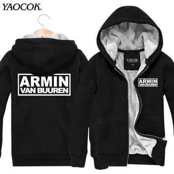 2016 Fashion Armin van Buuren Punk Rock Band Cardigan Thickening Plus Velvet Jacket Sport Mens Hoodies And Sweatshirts Hip Hop