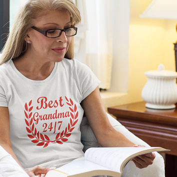 Grandma Gift, Grandmother Shirt, Christmas family Gift for Her, Best Grandma Tshirt 24 7, Grandparents Gifts Top Clothes Tumblr Outfit