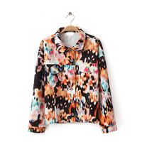 Multicolor Floral Print Crop Jacket With Dual Chest Pocket