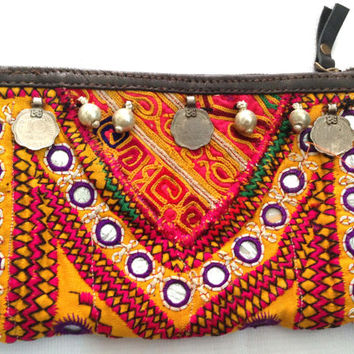 Beautiful Vintage Banjara coin clutch purse Indian gypsy multi color mirror work hand embroidery vintage coins ornamental beads