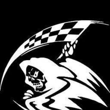 Grim Reaper Racing Flag Vinyl Car Decal
