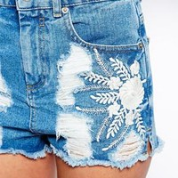 ASOS High Waisted Denim Shorts with Side Split and Embroidery - Blue