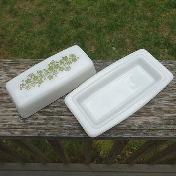 1970s Vintage Pyrex Glass Butter Dish in Spring Blossom or Crazy Daisy with Green Flowers, Holds 1/4 Pound Butter, Vintage Pyrex Kitchen