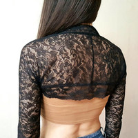 BLACK LACE SHRUG Wedding Bolero Long Sleeve Coat Cardigan Lace Crop Top Black Lace Cardigan Black Lace Sleeves Crop Top Coachella