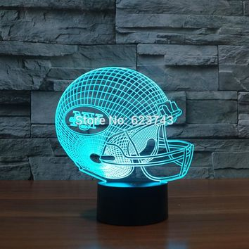 New York Jets American Football cap helmet 3D NFL LED Color Changing Decor night light by Touch induction control