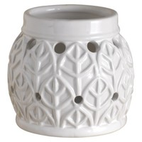 Westinghouse Standard Wax Free Warmer — White Round Leaf Pattern 2 Fragrance Disks included