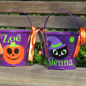 personalized halloween bucket, toddler halloween bucket, bucket with name, halloween pail, trick or treat bucket, little boys bucket, girl