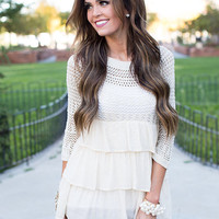Ruffle and Knit Top Beige