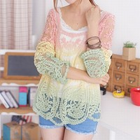 Ombre Lace Long Sleeve Overall/Blouse