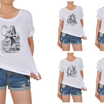 Women's Alice in Wonderland Printed Cotton T-shirt WTS_12