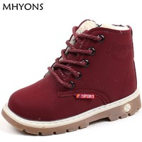 MHYONS winter Fashion Child Leather Snow Boots For Girls Boys Warm Martin Boots Shoes Casual Plush Child Baby Toddler Shoe