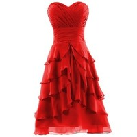 Dresstells Women's Sweetheart Knee-length Chiffon Short Bridesmaid Dress