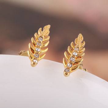 Accessory Diamonds Leaf Earring Jewelry [6573075591]