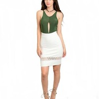 Lace Detail Pencil Skirt | White