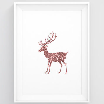 Copper home decor, Copper artwork, Pink deer print, Christmas deer decorations PRINTABLE Wall art bedroom Pink poster Scandinavian art print