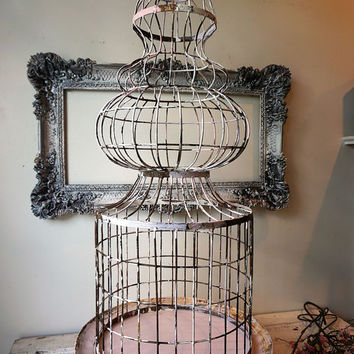 Antique spire birdcage w/ platform rustic farmhouse rusty bird cage shabby cottage chic wedding, home or garden decor anita spero design