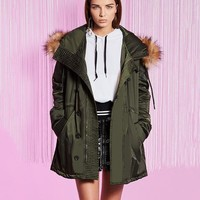 Army Green Large Hooded Coat Warm Raccoon Fur Hooded Coat Parkas Outwear Long Thickening Clothes Winter Jacket