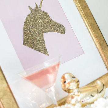 PRINTABLE art // gold print, gold glitter, gold art, glitter print, unicorn, magical, printable, nursery print, pink, pink and gold, foil
