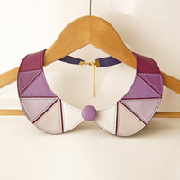 Leather Bib Necklace Purple and White Leather Collar Bib Necklace Peter Pan Detachable Collar Leather Jewelry READY TO SHIP