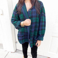 VTG Plaid Oversized Sweater with Buttons