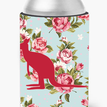 Kangaroo Shabby Chic Blue Roses Can or Bottle Beverage Insulator Hugger BB1008