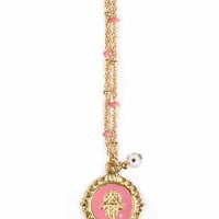 Blee Inara - Enamel Hamsa with Enamel Chain Necklace in Hot Pink