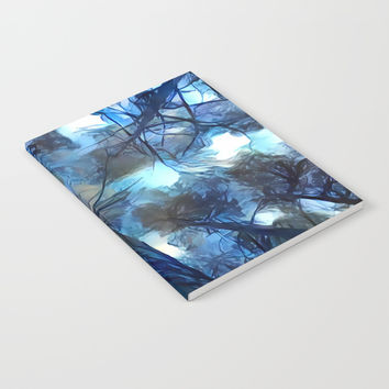 Blue forest, dark sky view, abstract spooky artwork, sad winter trees, dark blue colors nature theme Notebook by Casemiro Arts - Peter Reiss