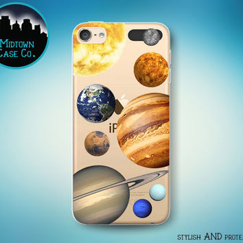 Solar System Sun Planets Mercury Venus Earth Mars Jupiter Saturn Uranus Neptune Clear Transparent Rubber Case for iPod Touch 6th or 5th Gen