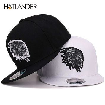 Trendy Winter Jacket [HATLANDER]Embroidery Skull baseball caps hats hip hop snapbacks flat brim bones gorra sports snapback caps for men women unisex AT_92_12