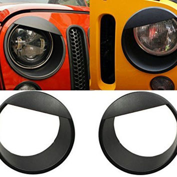 Sunluway® Black Bezels Front Light Headlight Angry Bird Style Trim Cover ABS For Jeep Wrangler Rubicon Sahara Jk 2007-2015