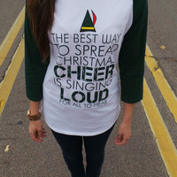 Funny Christmas Sweater. Buddy The Elf. The Best Way Spread Christmas. 3/4 Sleeve Christmas Sweater Shirt. Funny Christmas T-Shirt. Elf