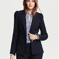 Navy Lightweight Wool Puff-Sleeve Blazer