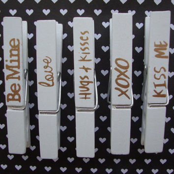 Valentines Day Magnets, Clothespin Magnets, Be Mine, Love, Hugs And Kisses, XOXO, Kiss Me, Kitchen Fridge Magnets, Home Office, Magnet Board