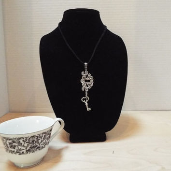 Lock and Key Necklace, Handmade Silver Antique Lock and Skeleton Key Charm, Unlock Her Heart Black Leather Necklace