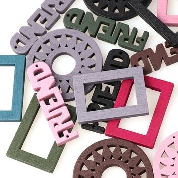 Diy Crafts 50pcs Mixed Friend Square Casual Style Round Wooden Decorative Buttons Sewing Accessories Scrapbooking For Diy