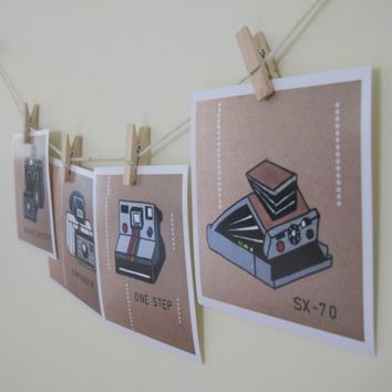 Polaroid Cameras Art Prints 4 x 4 Set of 4 Retro by HeyHarriet