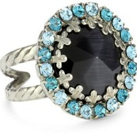 "Sorrelli ""Salt Water"" Circular Cocktail Ring with Crystal Edge Accents"
