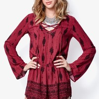 Kendall & Kylie Lace-Up Long Sleeve Romper - Womens Dress - Red