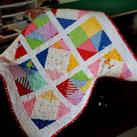 Homemade Patchwork Baby Quilt - Custom - Baby Quilt - Crib Stroller