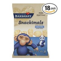 Barbara`s Bakery Snackimals Animal Cookies, Vanilla, 2.125-Ounce Bags (Pack of 18)