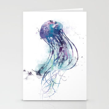 Jellyfish Stationery Cards by monnprint