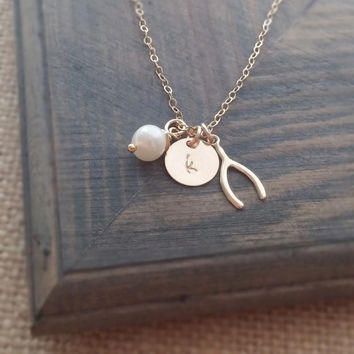 Personalized Jewelry // Gold Wishbone Necklace with Hand Stamped Initial Disc and Freshwater Pearl // Good Luck Jewelry