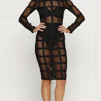 Making Headlines Black Sheer Mesh Geometric Grid Long Sleeve Scoop Neck Bodycon Midi Dress