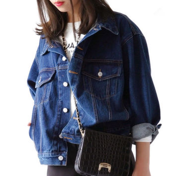 Oversized Denim Women Jacket Autumn Jaqueta Jeans Casacos Femininos Coat Denim Jacket Retro Female Coats Jean Jackets Loose S243