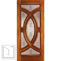 Solid Mahogany Single Door with Triple Glazed Glass, Circle Style