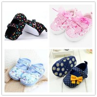 Baby Girls Shoes flowers bow baby toddler shoes spring autumn Soft Sole Footwear First Walkers For Baby Girl