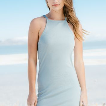 Slate Ribbed Cami Dress