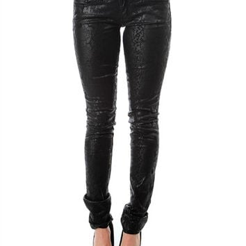 Highway Jeans Black Snakeskin fitted Skinny Jeans